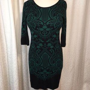 Max Studio sleek black & forest green knit dress